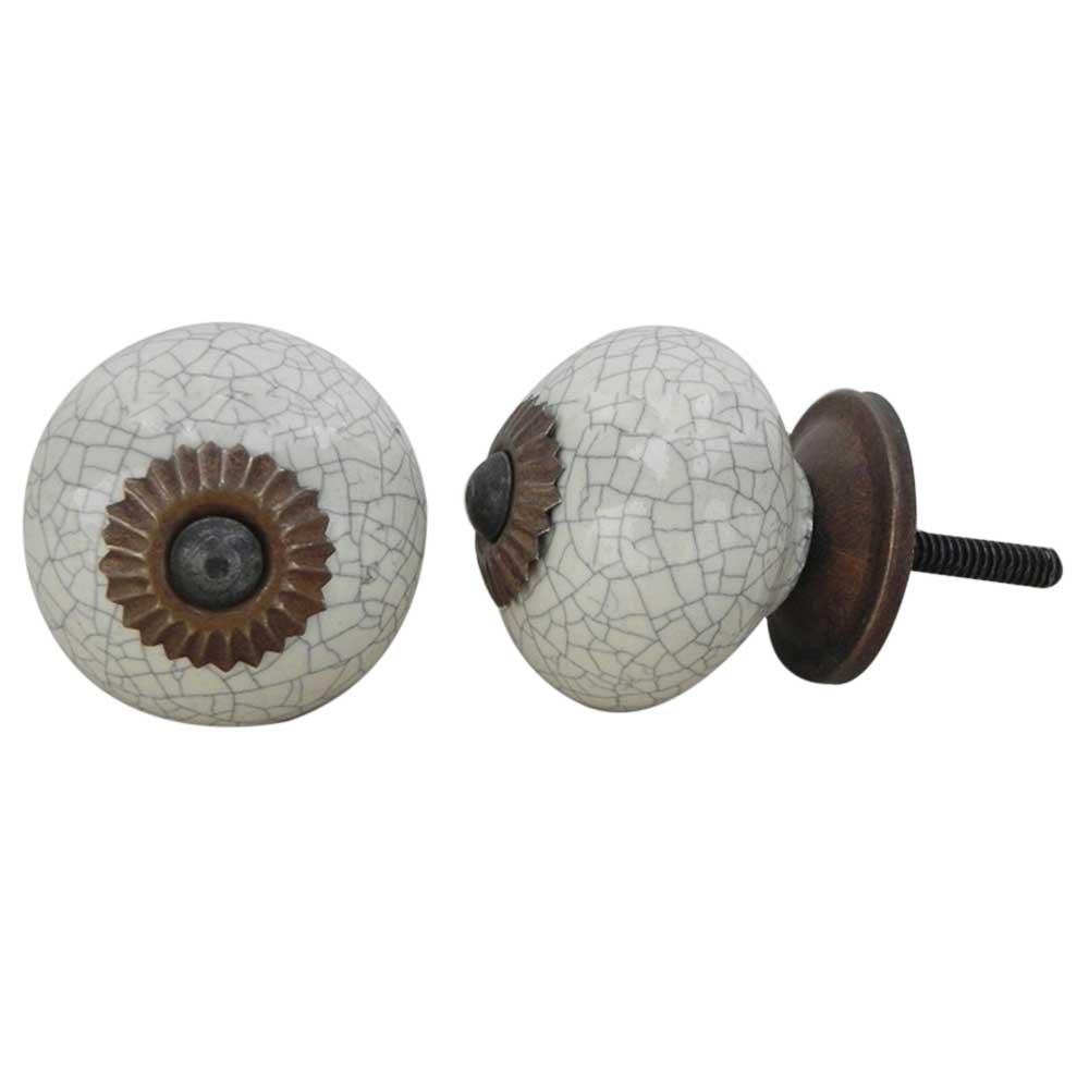 Cream Crackle Ceramic Wardrobe Knob