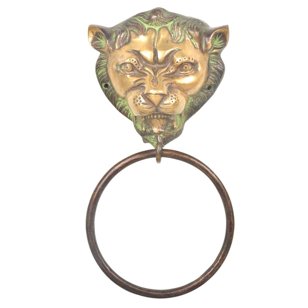Green Patina Brass Lion Head Towel Ring Bathroom Kitchen Hardware