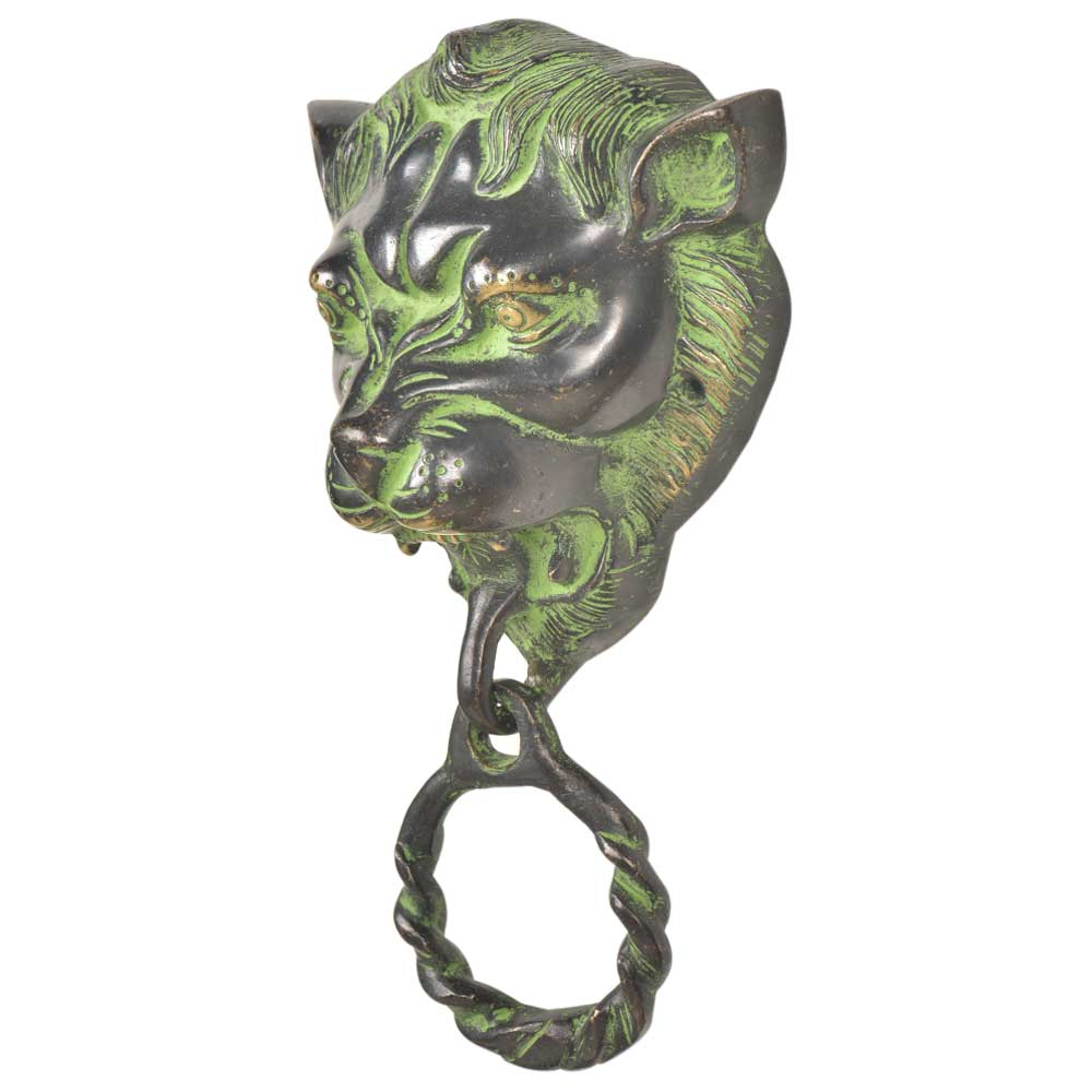 Black Green  Patina Rich Brass Lion Head Towel Ring Bathroom Hardware
