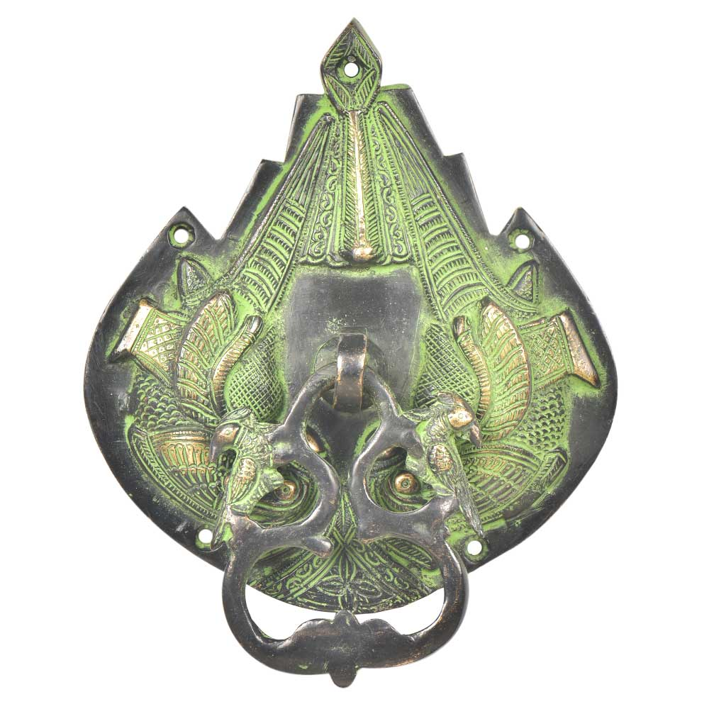 Ornate Green Patina Parrot Bird Door Knocker