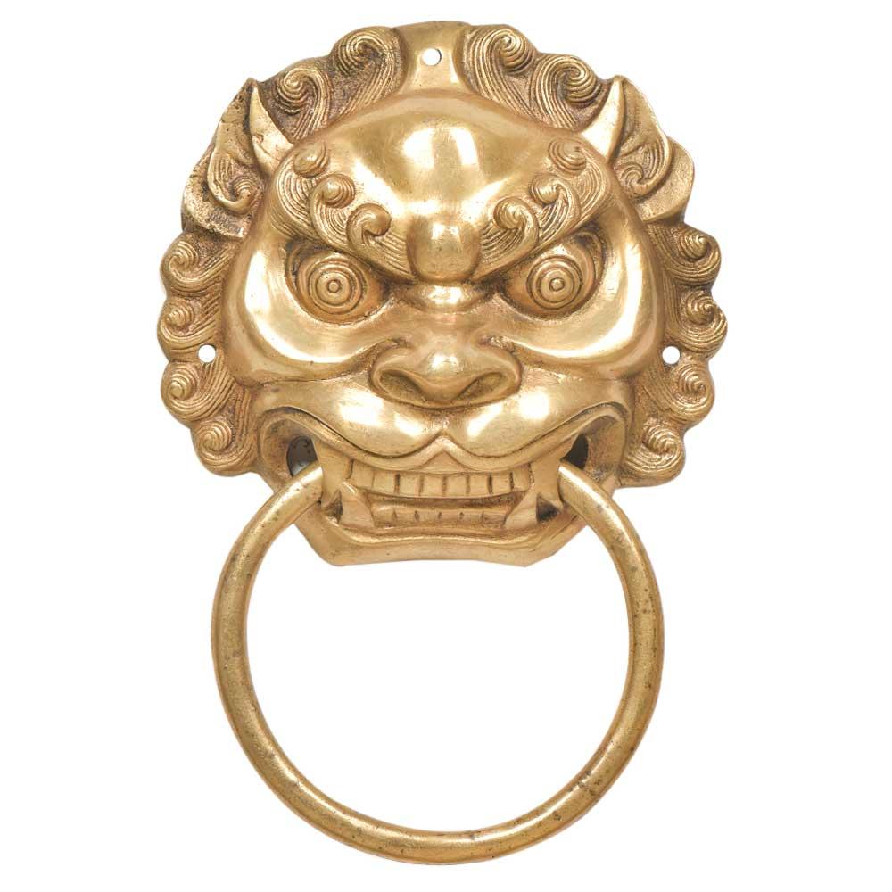 Brass Foo Fu Dog Lion Head Ring Door Knocker