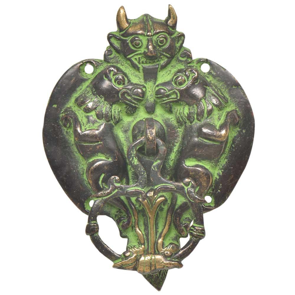 Black  Brass Green Patina Demon Head With Two Lion Figurines Door Knocker