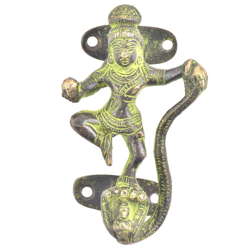 Kaalia Mardan Krishna Bronze Door Handle With Green Patina