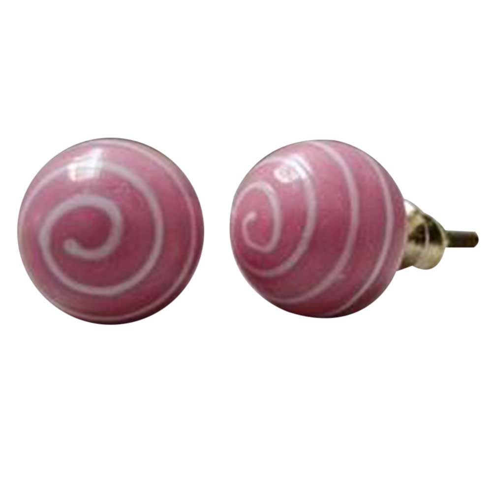 Pink White Striped Knob