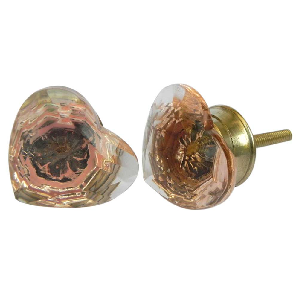 Glass Heart Dresser Knobs