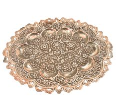 Ornate Copper Oval Serving Tray Platter With Decorative  Scalloped Edges