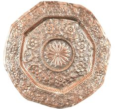Hexagon Shape Copper Repousse Decoration Serving Platter Wall Hanging