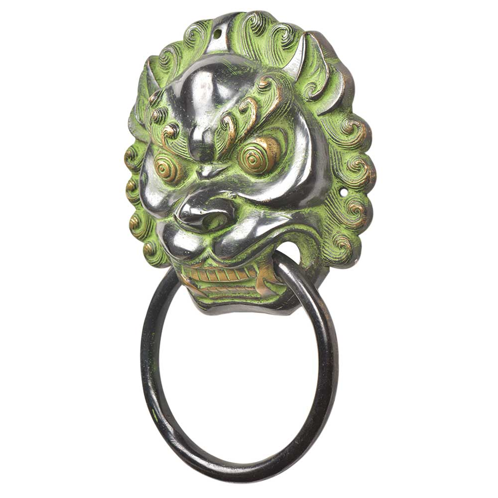 Black Brass Foo Fu Dog Lion Head Ring Door Knocker With Patina