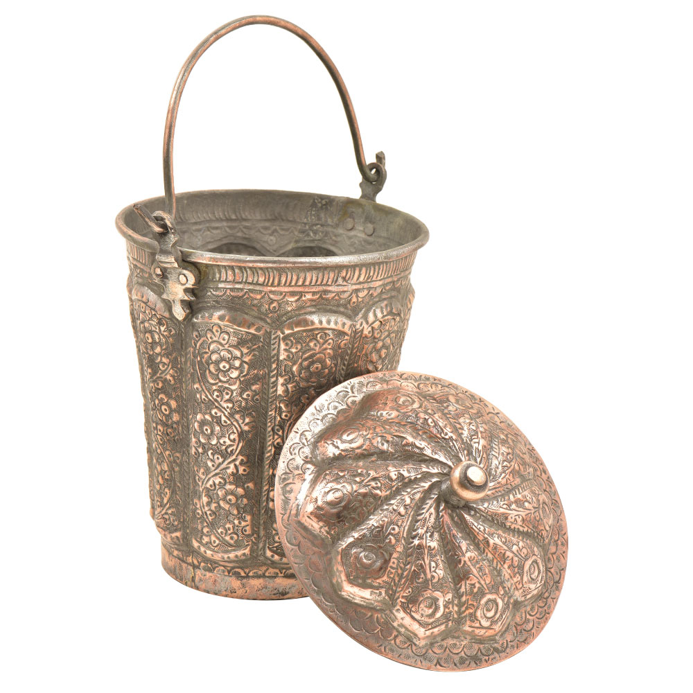 Copper Repousse Floral Bucket With Lid Finial