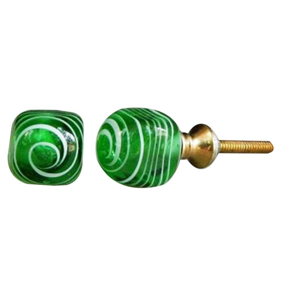 Striped Green Glass Knob