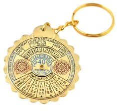 Big Flower 40 Year Perpetual Calendar Keychain With Scalloped Edges