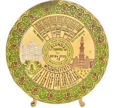 Brass Green Floral Border Round 100 Years Desk Stand Disk Calendar
