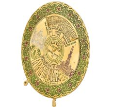 Brass Green Floral Border Round 100 Years Desk Stand Disk Calendar