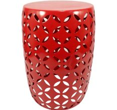 Metal Stool/Plant Stand - Red