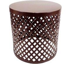 Metal Cutout Round Accent Table