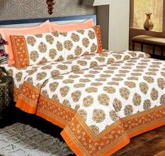 Orange Floral Cotton Bedsheet With Two Pillow Covers