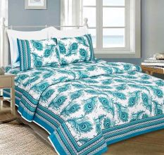 Blue Peacock Feather Cotton Bedsheet With Two Pillow Cover