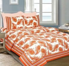 Orange Peacock Feather Cotton Bedsheet With Two Pillow Cover