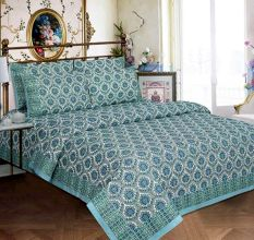 White Base White Blue Border Blue Flower Double Bedsheet with Two Pillow Cover