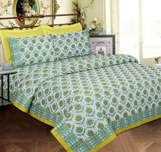 Light Blue Base Lemon Green Border And Flower Double Bedsheet with Two Pillow Cover