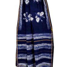 Blue Batik Print Chanderi Silk Sarees And Blouse Piece