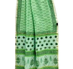 Green Delicate Leafy Patern Chanderi Silk Saree With Blouse