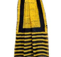 Yellow Batik Print Black Stripes Border Chanderi Silk Saree With Blouse