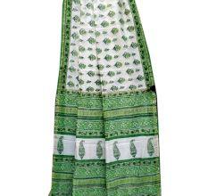 White Leafy Design Chanderi Silk Saree With Blouse