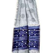 Light Grey Leafy Pattern Chanderi Silk Indigo Blue Border With Blouse