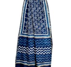 Indigo Blue White Leaves And Zig Zag Pattern On Border Chanderi Silk Saree With Blouse