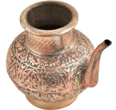 Engraved Leaves Design Engraved Copper Water Pot With A Spout