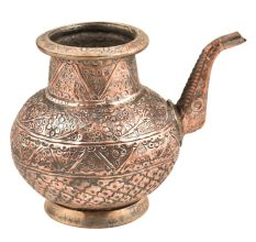 Indian Vintage Design Carved Copper Water Pot With Stout