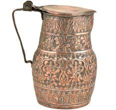 Vintage Copper Hand Carved Floral Design Water Jug