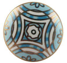 Turquoise Ceramic Floral Cabinet Knob Online