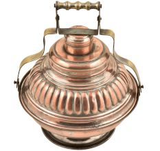 Large Embossed Design Copper Bowl Carrier Container