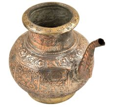 Brass Engraved Floral Design Copper Holy Water Pot With A Stout