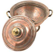 Vintage Old Handmade Engraved Copper Sugar Bowl With Lid