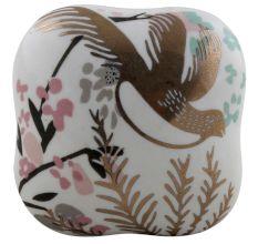 Golden Leaf Bird Square Ceramic Cabinet Knob