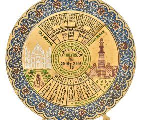Blue Brass 100 Years Floral Border Round  Desk Stand Disk  Calendar