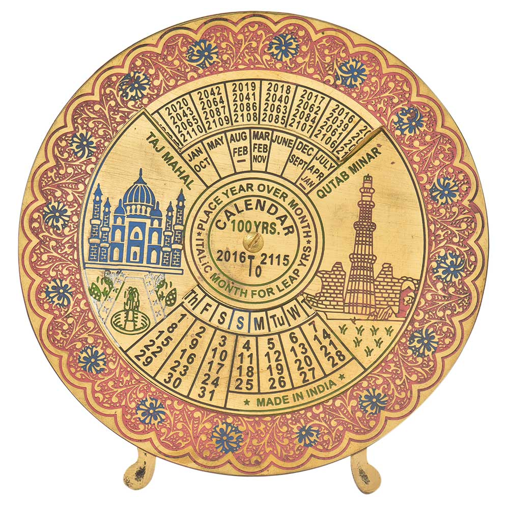 100 Years Brass Red Floral Border Round Desk Stand Disk Indian Calendar
