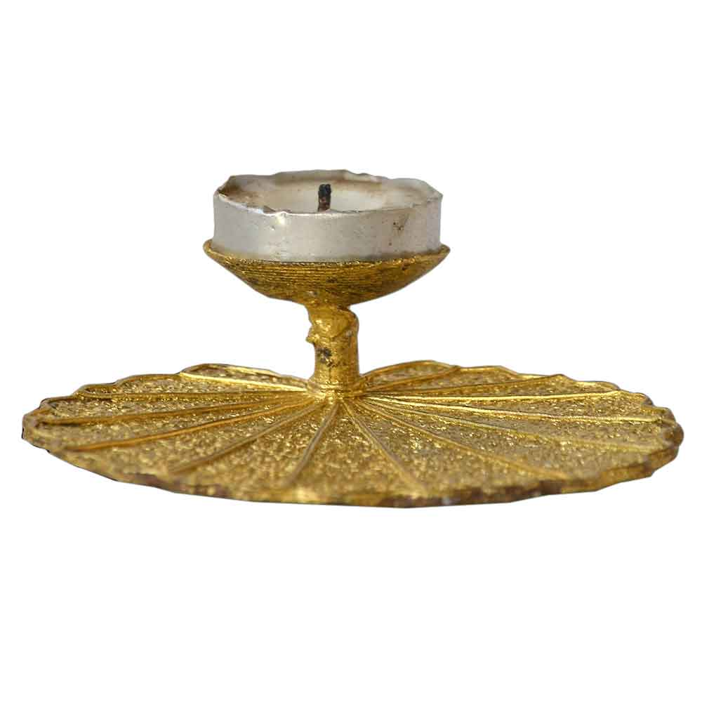 Dhokra Lotus Leaf Candle Stand
