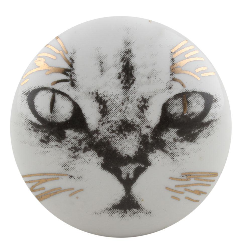Abyssinian Cat Face Golden pattern Ceramic Cabinet Knobs Online