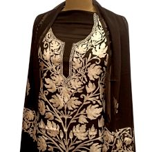 Black Floral Designer Georgette Fabric With Matching Dupata