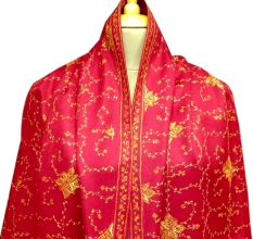 Handmade Blood Red Semi Pashmina Jaal Design Needle Work Shawl