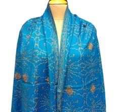 Handmade Blue Semi Pashmina Jaal Design Needle Work Shawl
