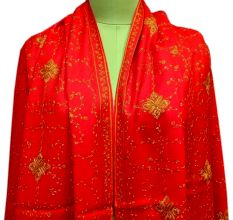 Handmade Red Semi Pashmina Jaal Design Needle Work Shawl