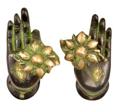 Brass Mudra Buddha Door Handle Pull (Set of 2 Piece)With Patina