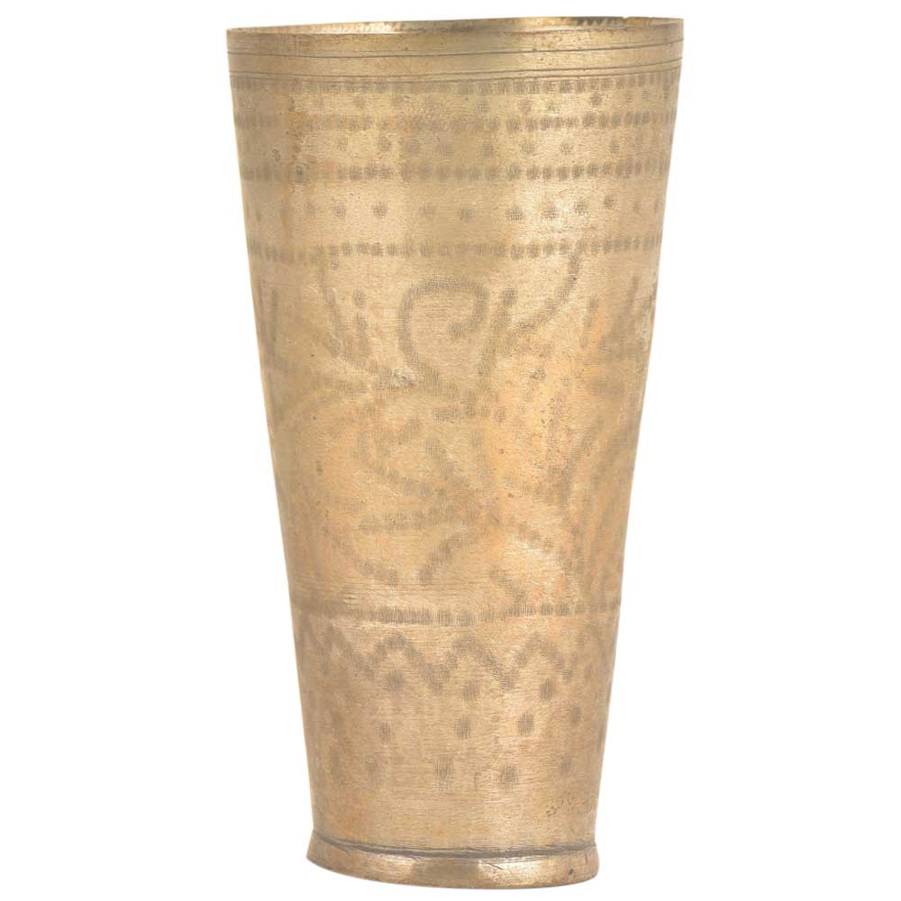 Old Punjabi Lassi Glass With Leaf Carving In Brass