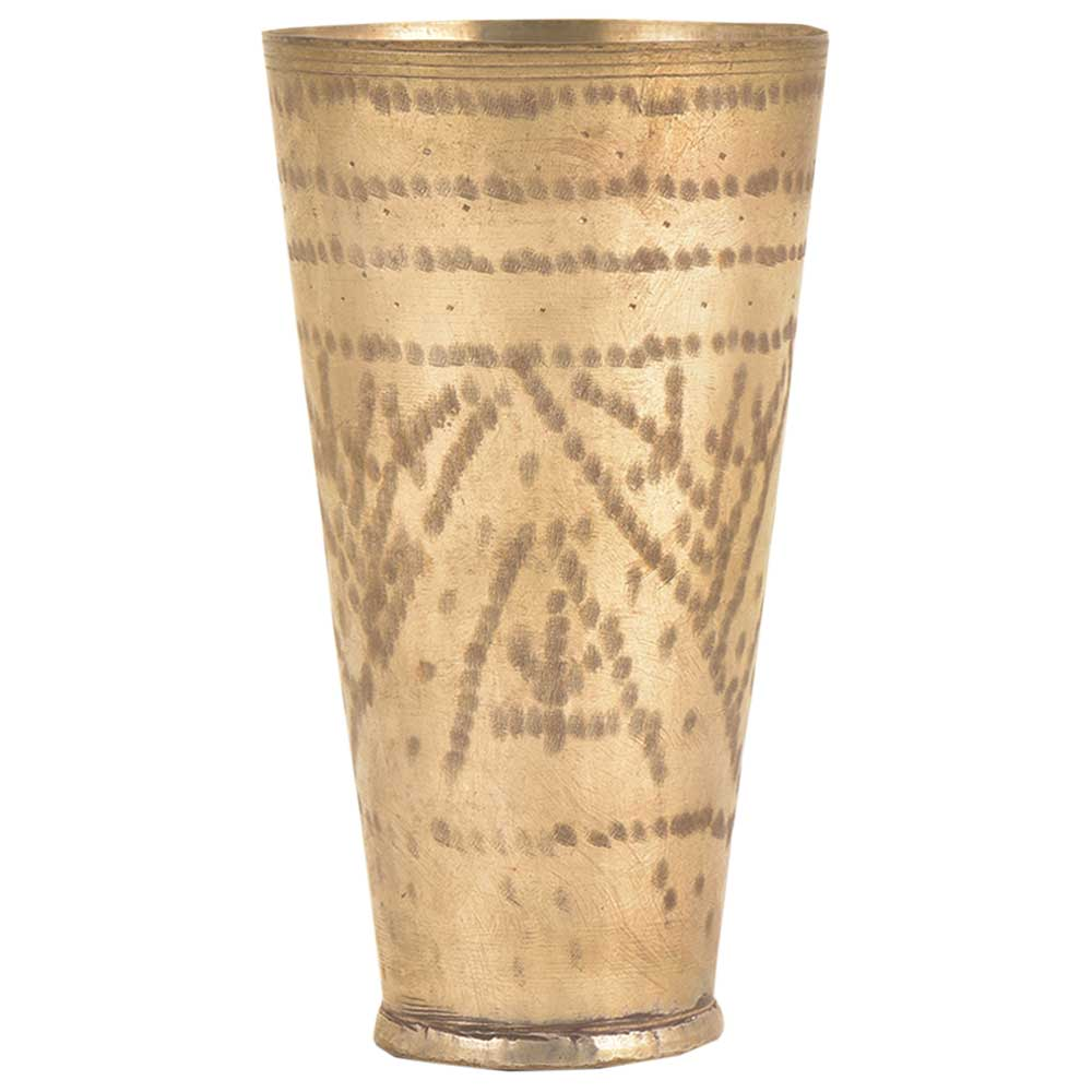 Old Vintage Brass Lassi Glass Home Decor Collectible