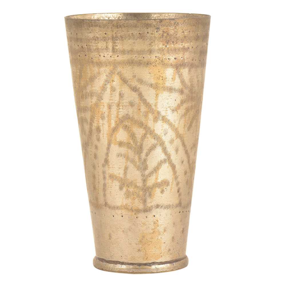 Old Brass Lassi Glass With Fine Ingraining Kitchenware
